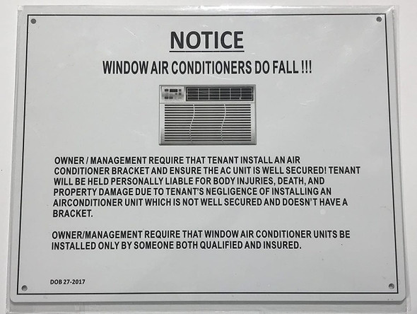 NOTICE:WINDOW AIR CONDITIONERS DO FALL  Signage