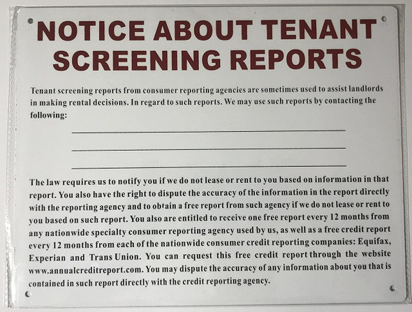 ABOUT TENANT SCREENING REPORTS NOTICE
