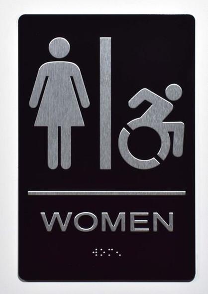 ADA women Accessible Restroom Sign