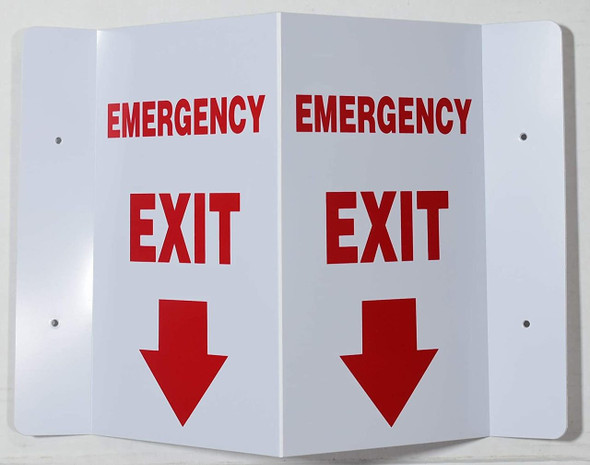 Emergency EXIT Arrow Down 3D Projection  Signage/FIRE Extinguisher Hallway  Signage