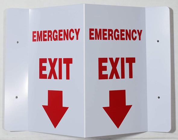 Emergency EXIT Arrow Down 3D Projection /FIRE Extinguisher Hallway