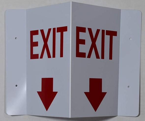 EXIT Arrow Down 3D Projection  Signage/EXIT Arrow Down Hallway  Signage