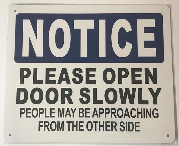 Please open door slowly signage