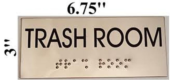 TRASH ROOM sinage- BRAILLE-STAINLESS STEEL