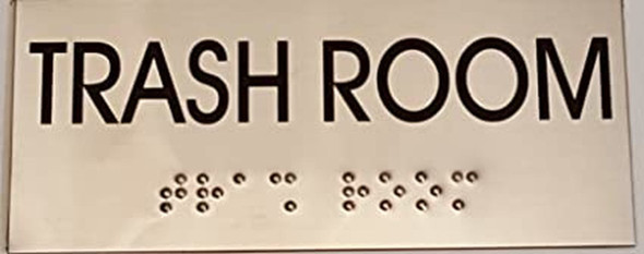 TRASH ROOM - BRAILLE-STAINLESS STEEL