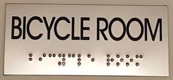 BICYCLE ROOM sinage- BRAILLE-STAINLESS STEEL