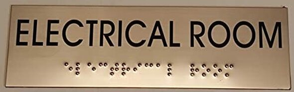ELECTRICAL ROOM  Signage- BRAILLE-STAINLESS STEEL
