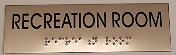 RECREATION ROOM - BRAILLE-STAINLESS STEEL SIGNAGE