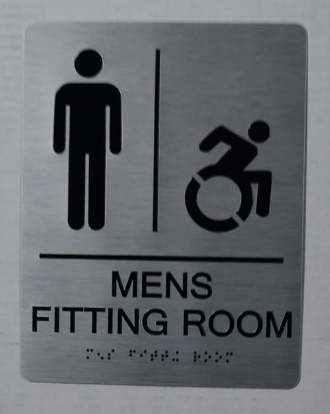 Men's accessible Fitting Room  Signage with Tactile Text and Braille  Signage