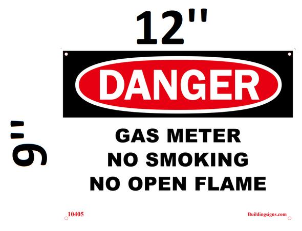 DANGER Gas Meter No smoking no open flame  Signage