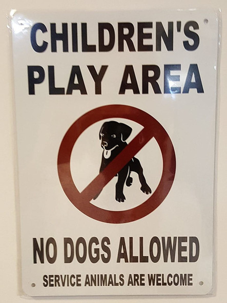 Children's Play Area No Dogs Allowed Notice  Signage