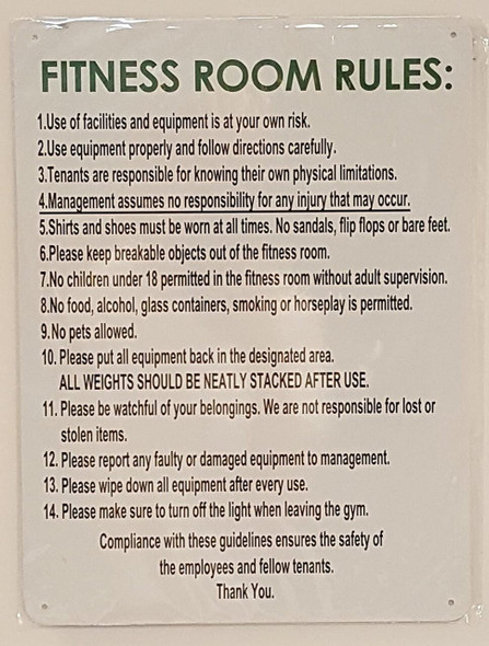 Fitness Room Rules  Signage