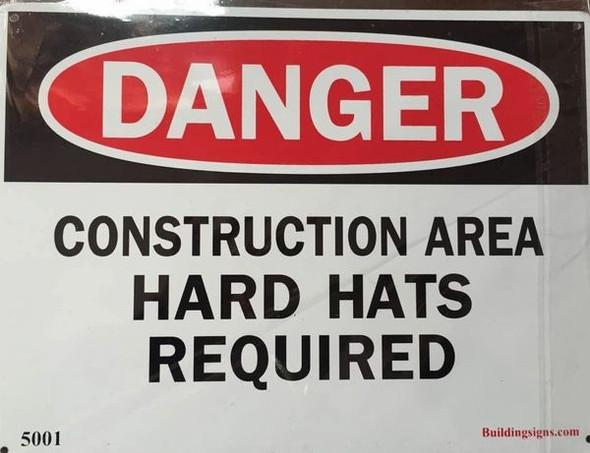minium OSHA Safety  Signage Danger Construction Area Hard Hats requi