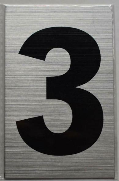 Apartment Number sinage - Three 3Brush