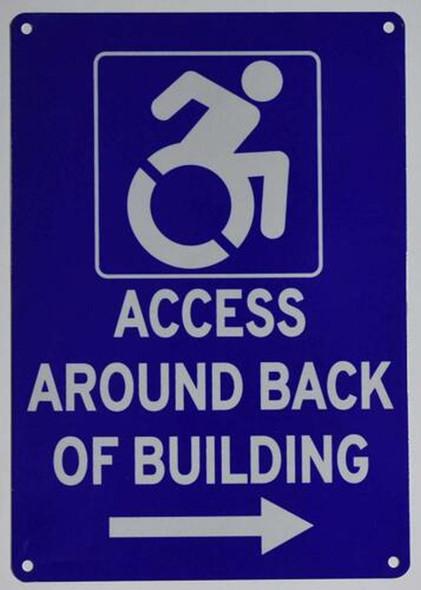 ACCESSIBLE Entrance Around Back of Building Left Arrow  Signage