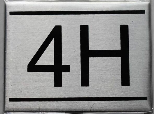 APARTMENT NUMBER SIGN - 4H    Sign