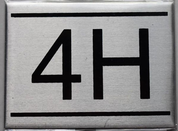 APARTMENT NUMBER SIGN - 4H