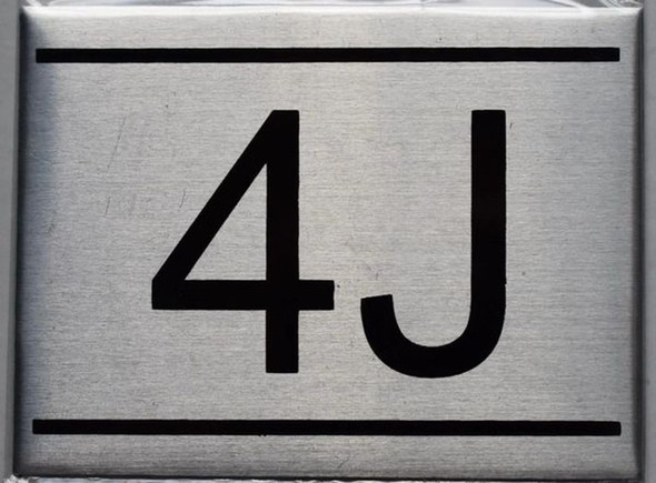 APARTMENT NUMBER SIGN - 4J    Sign