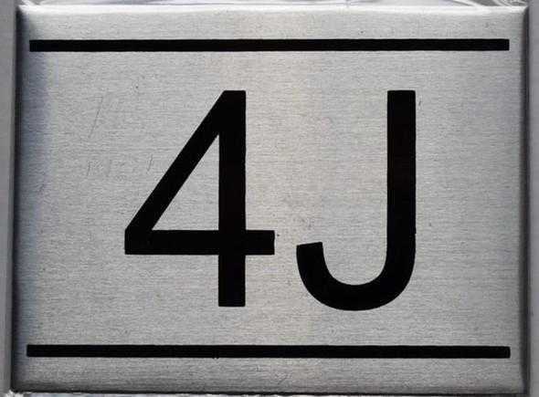 APARTMENT NUMBER SIGN - 4J