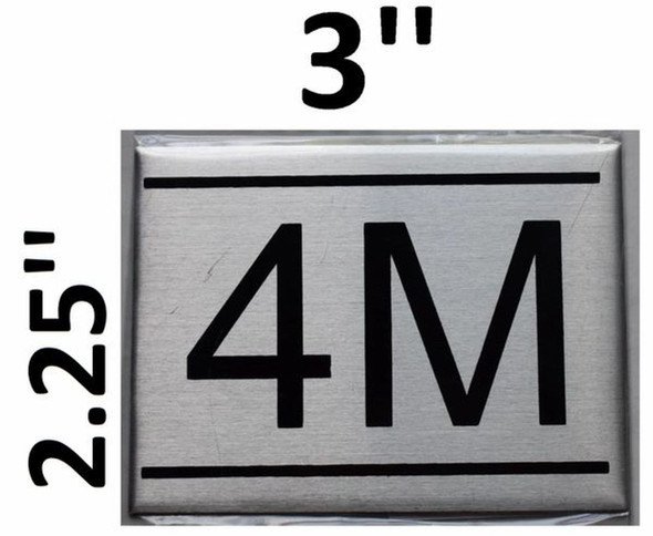 APARTMENT NUMBER SIGN - 4M -BRUSHED
