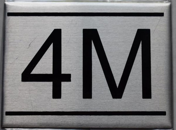 APARTMENT NUMBER SIGN - 4M -BRUSHED   Sign