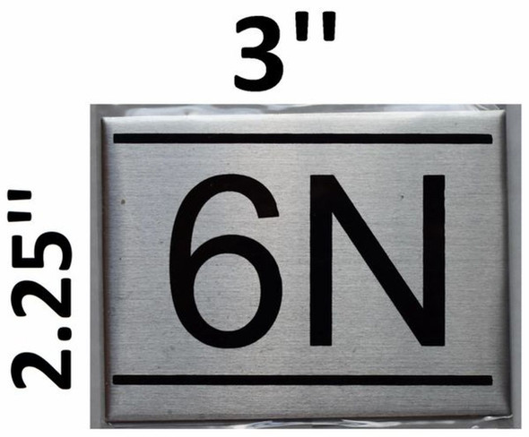 APARTMENT NUMBER SIGN - 6N -BRUSHED