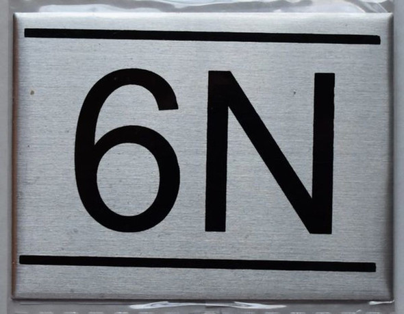 APARTMENT NUMBER SIGN - 6N -BRUSHED   Sign