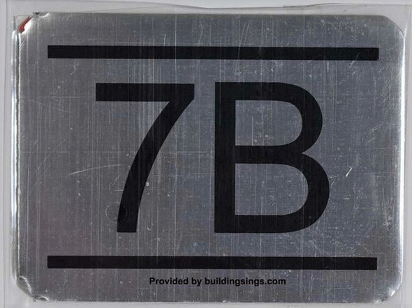 APARTMENT NUMBER SIGN – 7B    Sign