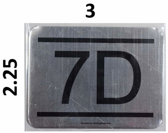 APARTMENT NUMBER SIGN 7D -BRUSHED