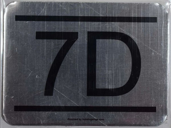 APARTMENT NUMBER SIGN 7D -BRUSHED    Sign