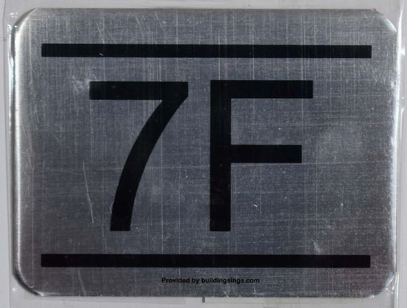 APARTMENT NUMBER SIGN – 7F   signs Sign