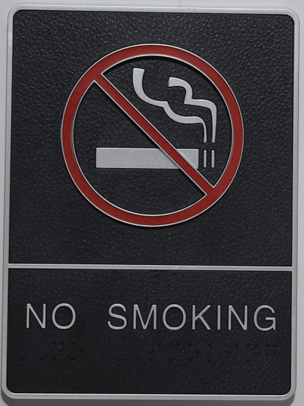 NO SMOKING Sign- - BRAILLE PLASTIC ADA  Sign