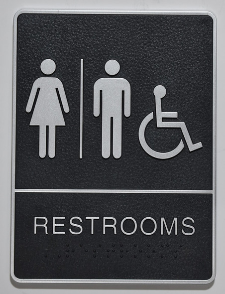 ACCESSIBLE Restrooms Sign- - BRAILLE  PLASTIC ADA SIGNS