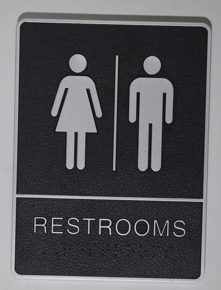 Restrooms Sign- - BRAILLE  PLASTIC ADA SIGNS