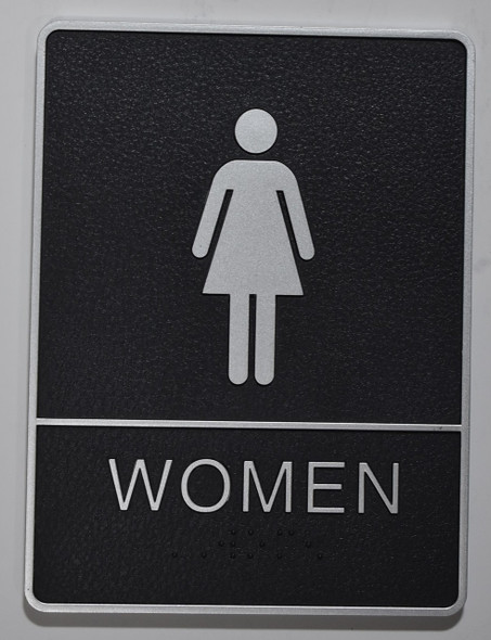 WOMEN Restroom Sign- - BRAILLE PLASTIC ADA  Sign
