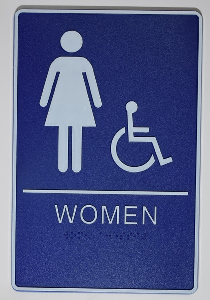 WOMEN ACCESSIBLE Restroom Sign- - BRAILLE  PLASTIC ADA  Sign