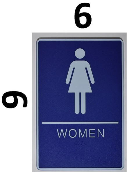WOMEN Restroom Sign- - BRAILLE PLASTIC ADA