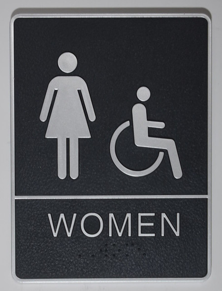 WOMEN ACCESSIBLE Restroom Sign- - BRAILLE PLASTIC ADA  Signage