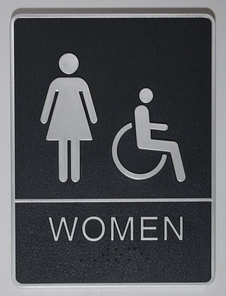 WOMEN ACCESSIBLE Restroom Sign- - BRAILLE PLASTIC ADA