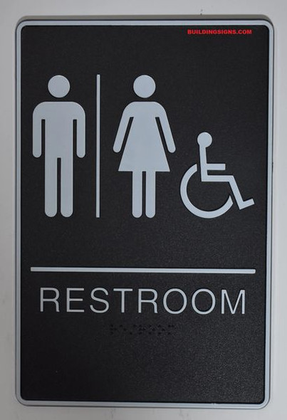 ACCESSIBLE Restrooms Sign- - BRAILLE PLASTIC ADA   Signage