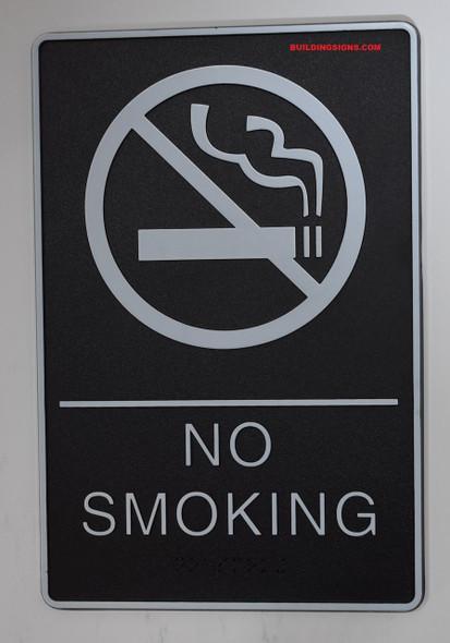 NO SMOKING Sign- - BRAILLE PLASTIC ADA   Signage
