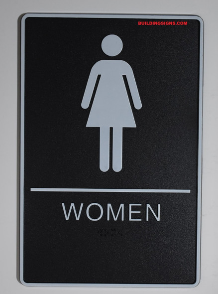 WOMEN Restroom Sign- - BRAILLE PLASTIC ADA   Signage