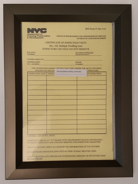 certificate of inspection visits in frame