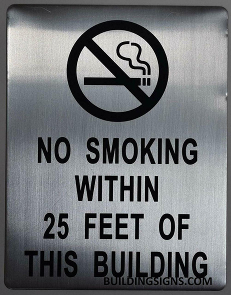NO Smoking Within 25 FEET from Building Entrance sinage