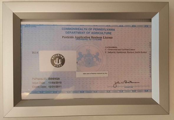 Business License Frame PA Sign