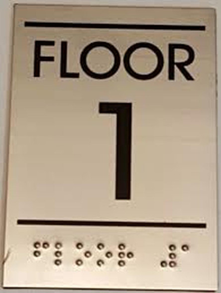 Floor number one 1 sinage - BRAILLE-STAINLESS STEEL