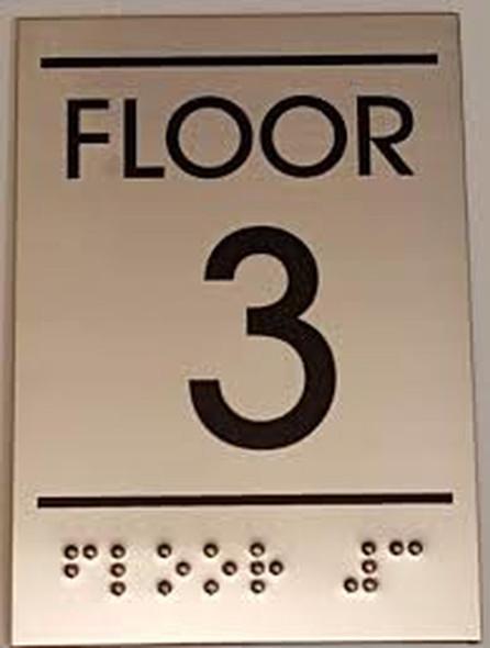 Floor number Three (3)  Signage - BRAILLE-STAINLESS STEEL