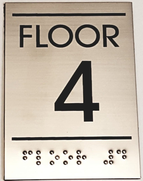 Floor number  Signage Four (4)- BRAILLE-STAINLESS STEEL