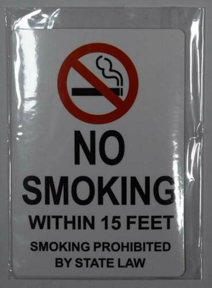 4 PCS -No Smoking Within 15 Feet Sticker Signage