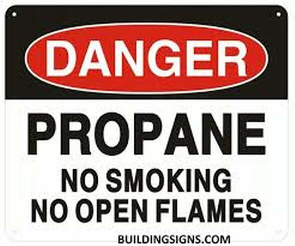 Danger Propane NO Smoking NO Open Flames